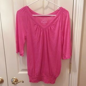 2 for $9 Mudd hot pink flowy top sz M